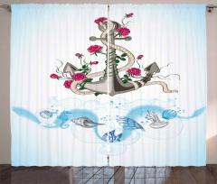 Çiçekli Çapa Desenli Fon Perde Deniz Kabukları