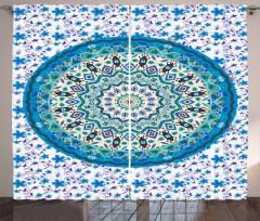 Mavi Dekoratif Çiçek Desenli Fon Perde Çeyizlik