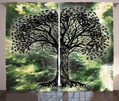 Siyah Ağaç Desenli Fon Perde Dekoratif Yeşil Şık