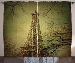 Eyfel Kulesi ve Ağaçlar Fon Perde Sarı Paris