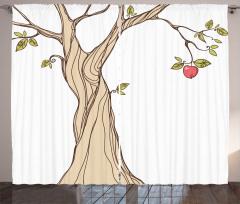 Elma Ağacı Desenli Fon Perde Dekoratif Çeyizlik