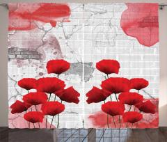 Duvardaki Kırmızı Gelincikler Fon Perde Dekoratif