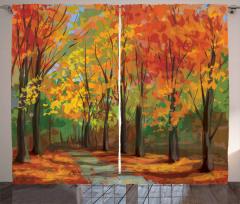 Sonbahar Ormanı Desenli Fon Perde Turuncu Romantik