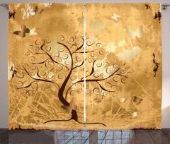 Dekoratif Ağaç ve Kelebek Fon Perde Şık Tasarım