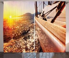 Denizde Gün Batımı Fon Perde Sarı Gökyüzü Gemi