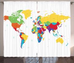 Dünya Haritası Desenli Fon Perde Beyaz Fonlu