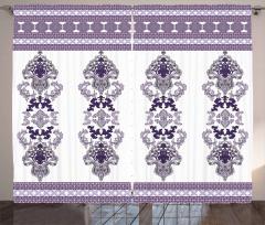 Mor Dekoratif Süslemeli Fon Perde Nostaljik Şık