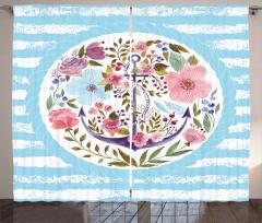 Çiçekler ve Çapa Desenli Fon Perde Pembe Mavi Şık