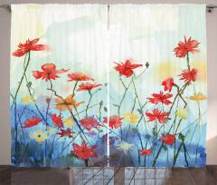 Kırmızı Sarı Çiçekler Desenli Fon Perde Çeyizlik