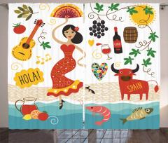 Dansçı İspanyol Kız Desenli Fon Perde Şarap Boğa