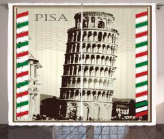 Pisa Kulesi Desenli Fon Perde Bej Nostaljik İtalya