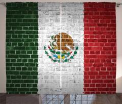 Meksika Bayrağı Desenli Fon Perde Tuğla Duvar