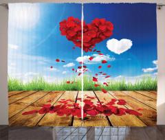 Kırmızı Kalp Çiçek Desenli Fon Perde Gökyüzü Bulut