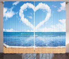 Kalpli Bulut ve Deniz Fon Perde Gökyüzü Kumsal