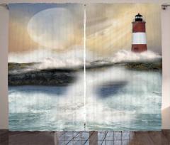 Deniz Feneri ve Dalgalar Fon Perde Gökyüzü Sarı