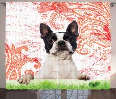 Köpek ve Çiçek Desenli Fon Perde Dekoratif Şık