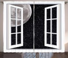 Ay'a Açılan Pencere Fon Perde Gece Gökyüzü Yıldız