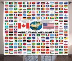 Dünya Bayrakları Desenli Fon Perde Rengarenk