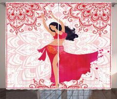 Kırmızılı Dansçı Kız Desenli Fon Perde Dekoratif