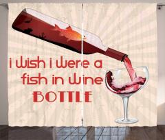 Şarap Şişesindeki Balık Desenli Fon Perde Şık