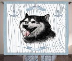 Husky ve Çapa Desenli Fon Perde Nostaljik Şık