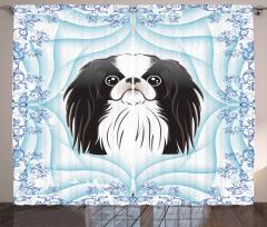 Uzun Kulaklı Köpek Desenli Fon Perde Mavi Çiçekli