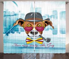 Pipolu Şapkalı Köpek Desenli Fon Perde Mavi