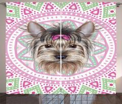 Tokalı Köpek Desenli Fon Perde Pembe Yeşil Beyaz