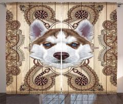 Sibirya Kurdu Desenli Fon Perde Kahverengi Şık