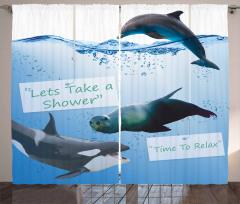 Yunus ve Fok Desenli Fon Perde Mavi Deniz Şık