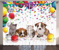 Sevimli Kedi ve Köpekler Fon Perde Rengarenk Balon