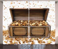 Dolar Sandığı Desenli Fon Perde Altın Kahverengi