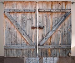 Kahverengi Ahşap Kapı Fon Perde Nostaljik Şık