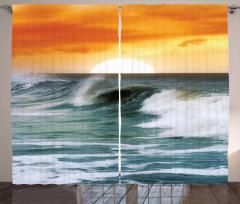 Dalgalı Deniz Desenli Fon Perde Turuncu Gökyüzü