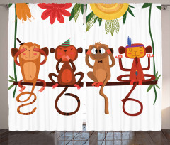 Dalda Oturan Maymunlar Fon Perde Kahverengi Çiçek
