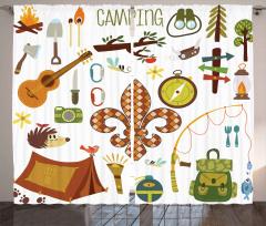 Kirpi ve Gitar Desenli Fon Perde Kahverengi Yeşil