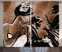 Şarkı Söyleyen Kadın Fon Perde Kahverengi Müzik
