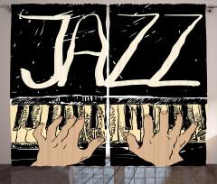 Piyano ve Caz Desenli Fon Perde Siyah Beyaz