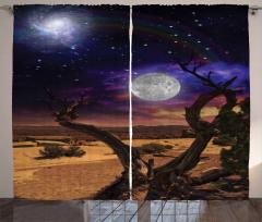 Gökyüzü ve Yeryüzü Fon Perde Ay Yıldız Ağaç