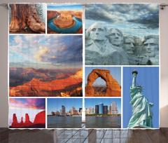 Amerika Desenli Fon Perde Özgürlük Anıtı Gökyüzü