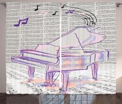 Mor Piyano Desenli Fon Perde Nostaljik Notalar