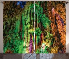 Yeşil Sarkıtlar Desenli Fon Perde Doğa Mağara