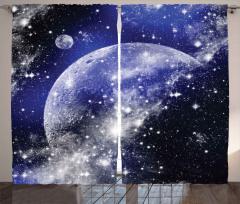Dünya ve Uzay Desenli Fon Perde Lacivert Gökyüzü