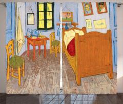 Yatak Odası Desenli Fon Perde Nostaljik Kahve Mavi