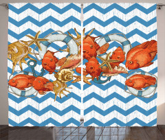 Turuncu Balık Desenli Fon Perde Mavi Beyaz Zikzak