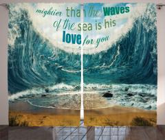 Dalgalar ve Deniz Fon Perde Dekoratif Mavi
