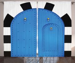 Mavi Kapı Desenli Fon Perde Dekoratif Nostaljik