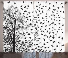 Ağaç ve Karga Desenli Fon Perde Siyah Beyaz Şık
