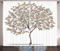 Dolardan Ağaç Desenli Fon Perde Beyaz Kahverengi