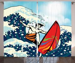 Sörfçü Genç Desenli Fon Perde Mavi Dalga Deniz